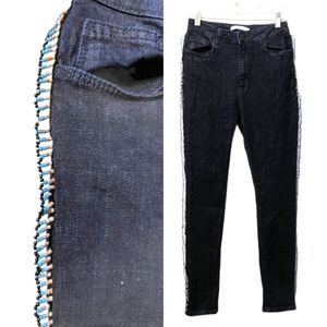 UTERQUE High Rise Dark Wash Jeans with Side Beads
